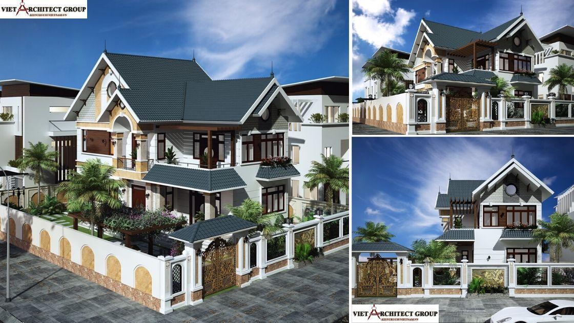 Công trình thiết kế biệt thự 2 tầng mái thái lô góc đẹp mr Thái Nhơn Trạch