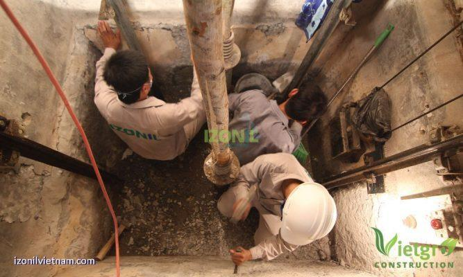 chống thấm hố thang máy hố pit